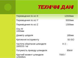 ТЕХНІЧНІ ДАНІ Переміщення по осі X 12500мм Переміщення по осі Y  5000мм