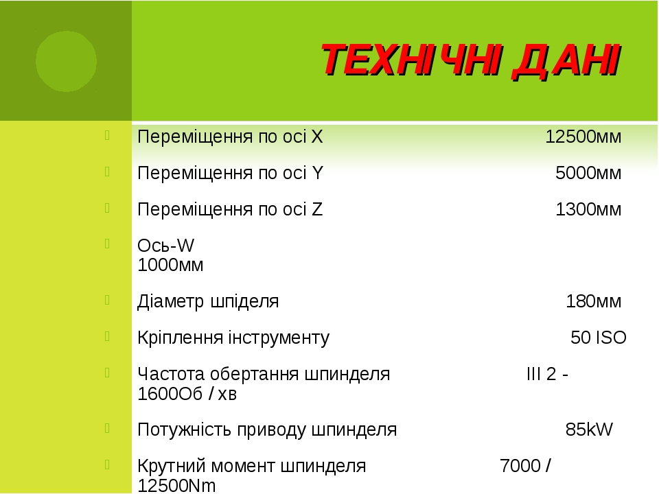 ТЕХНІЧНІ ДАНІ Переміщення по осі X 12500мм Переміщення по осі Y  5000мм...