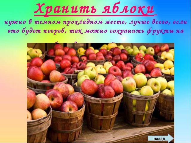 Хранить яблоки нужно в темном прохладном месте, лучше всего, если это будет п...