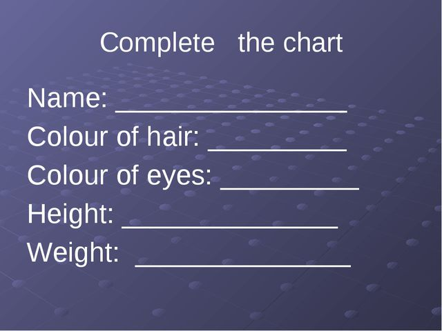 Complete the chart Name: _______________ Colour of hair: _________ Colour of...