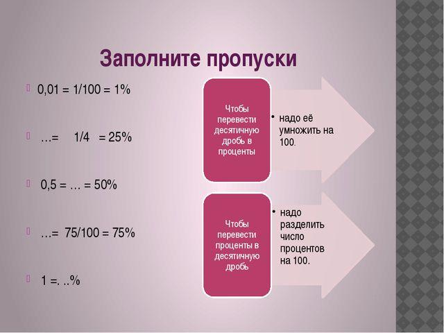 Заполните пропуски 0,01 = 1/100 = 1% …= 1/4   = 25% 0,5 = … =...