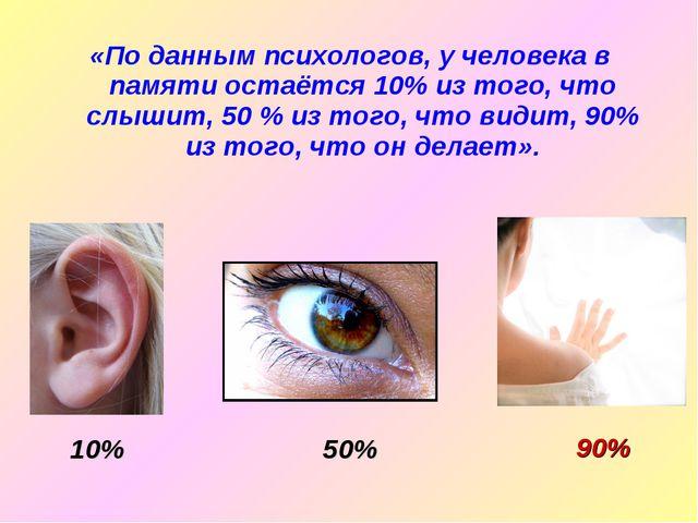 «По данным психологов, у человека в памяти остаётся 10% из того, что слышит,...