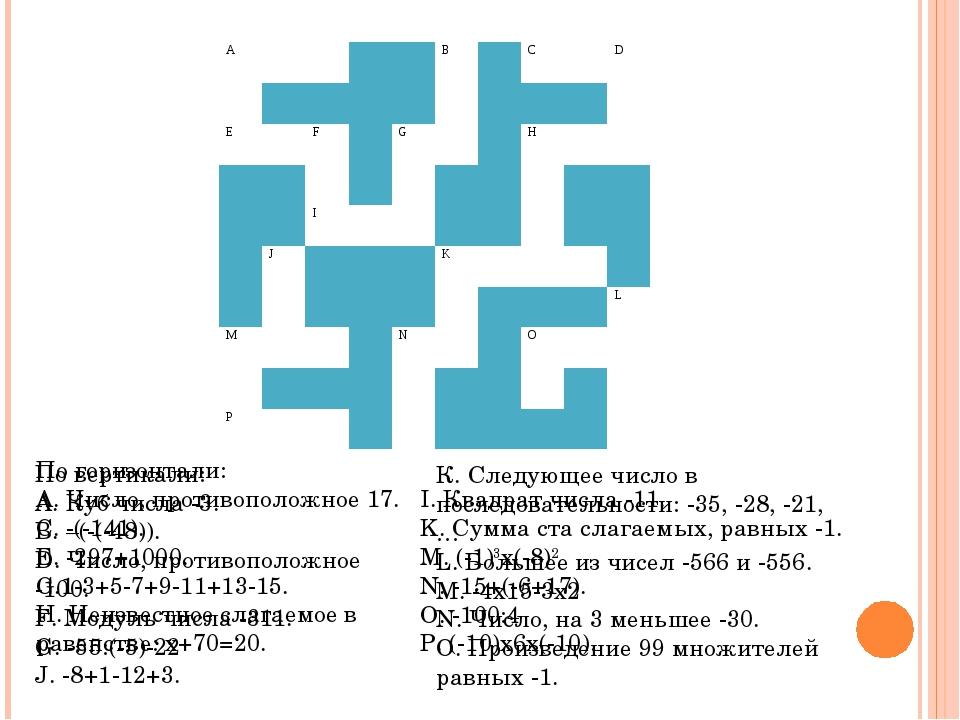 По горизонтали: A. Число, противоположное 17. C. -(-141). E. -297+1000. G.1-...