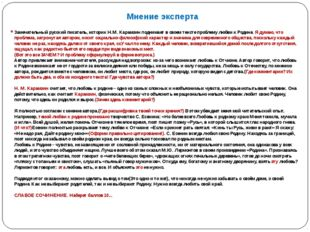 Мнение эксперта Замечательный русский писатель, историк Н.М. Карамзин поднима