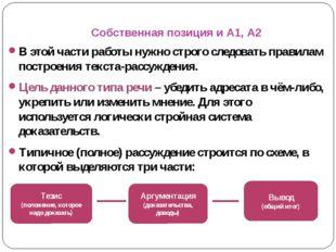 Собственная позиция и А1, А2 В этой части работы нужно строго следовать прави