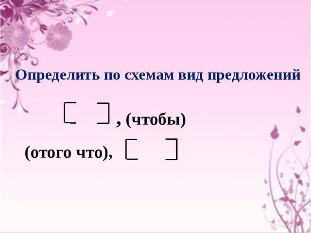 Определить по схемам вид предложений , (чтобы) (отого что),