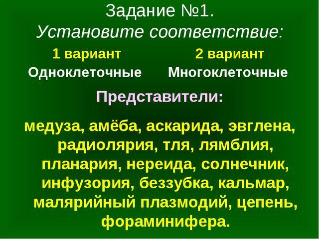 Задание №1. Установите соответствие: 1 вариант Одноклеточные 2 вариант Многок...