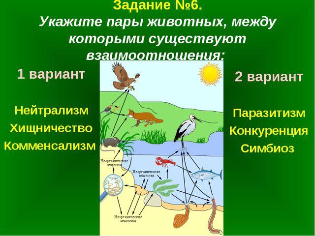 Задание №6. Укажите пары животных, между которыми существуют взаимоотношения:...