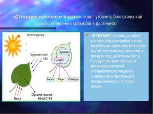 «Словарь русского языка» помог уточнить биологический процесс появления крах