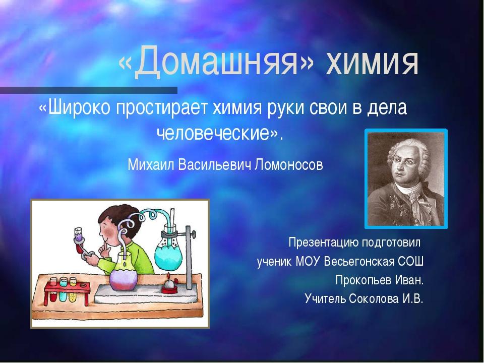 «Домашняя» химия «Широко простирает химия руки свои в дела человеческие». Мих...