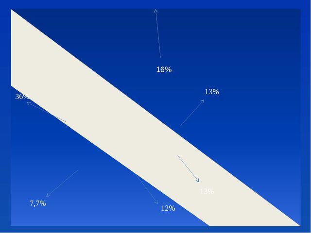 16% 13% 13% 12% 7,7% 36%