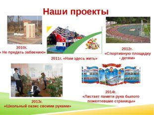 Наши проекты 2010г. « Не предать забвению» 2011г. «Нам здесь жить» 2012г. «Сп