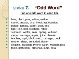 "Station 7. ""Odd Word"" find one odd word in each line blue, black, pink, yello"