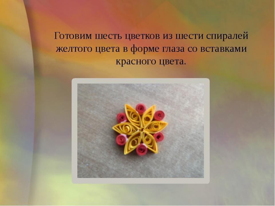 Готовим шесть цветков из шести спиралей желтого цвета в форме глаза со встав...