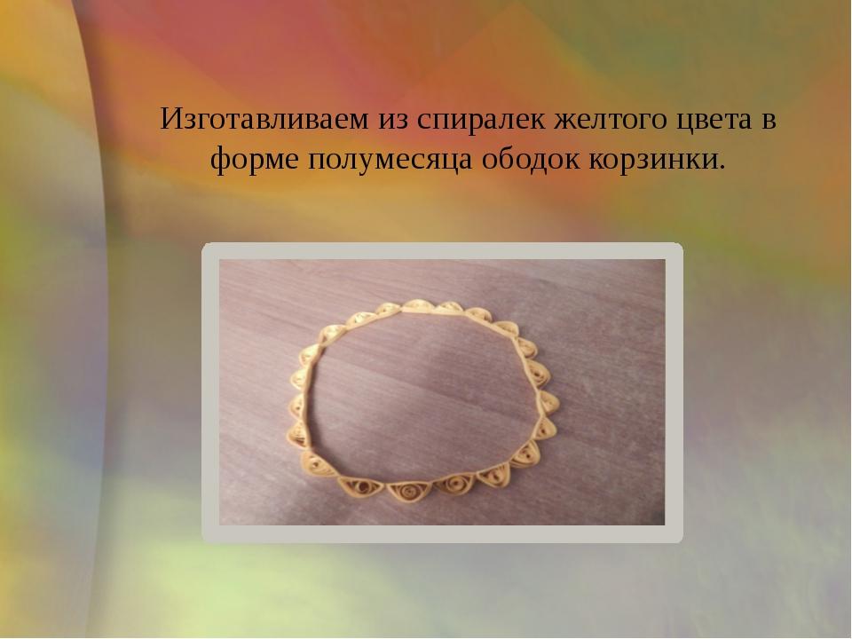 Изготавливаем из спиралек желтого цвета в форме полумесяца ободок корзинки.
