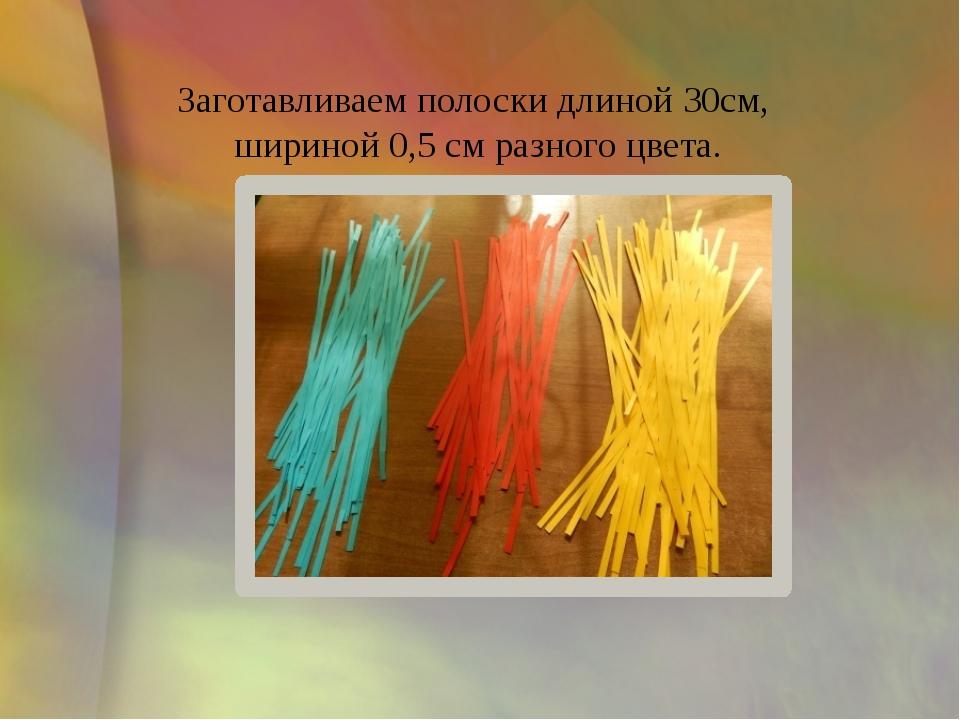 Заготавливаем полоски длиной 30см, шириной 0,5 см разного цвета.