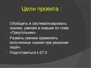 Цели проекта : Обобщить и систематизировать знания, умения и навыки по теме «