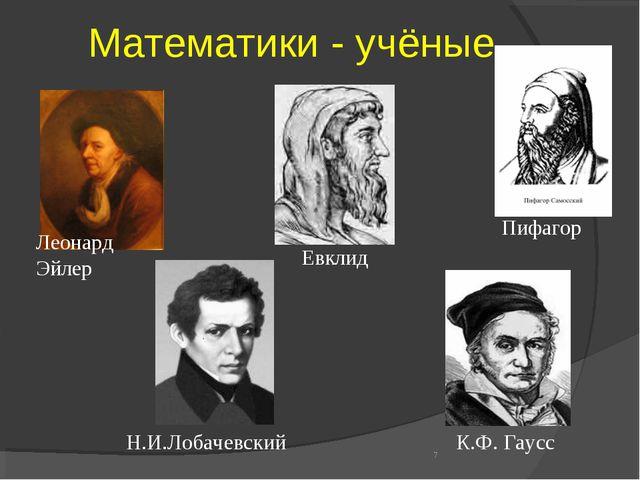 Математики - учёные * Леонард Эйлер К.Ф. Гаусс Н.И.Лобачевский Евклид Пифагор