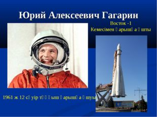 Юрий Алексеевич Гагарин 1961 ж 12 сәуір тұңғыш ғарышқа ұшуы Восток -1 Кемесім
