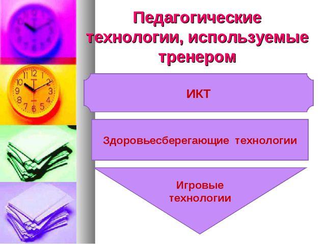 Педагогические технологии, используемые тренером ИКТ Игровые технологии Здоро...