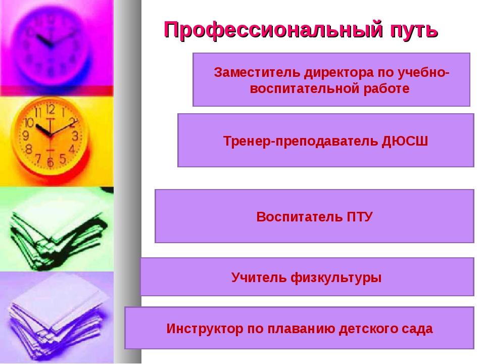 Профессиональный путь Заместитель директора по учебно-воспитательной работе Т...