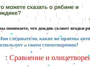Что можете сказать о рябине и дождике? – Как вы понимаете, что дождик склюет