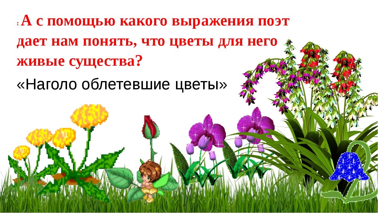 : А с помощью какого выражения поэт дает нам понять, что цветы для него живые...