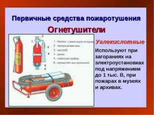 Первичные средства пожаротушения Огнетушители Углекислотные Используют при за