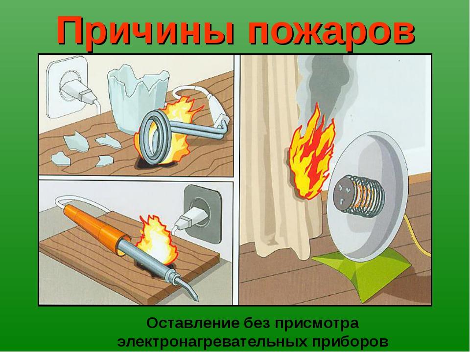 Причины пожаров Оставление без присмотра электронагревательных приборов