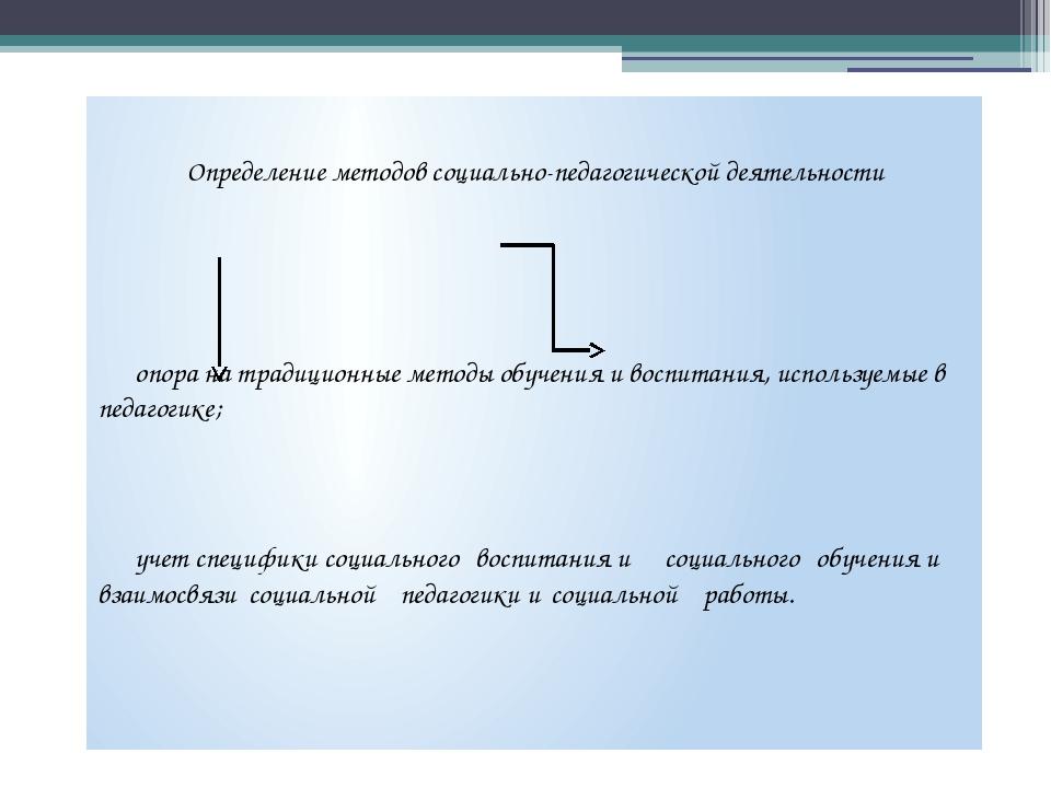 Определение методов социально-педагогической деятельности опора на традицио...