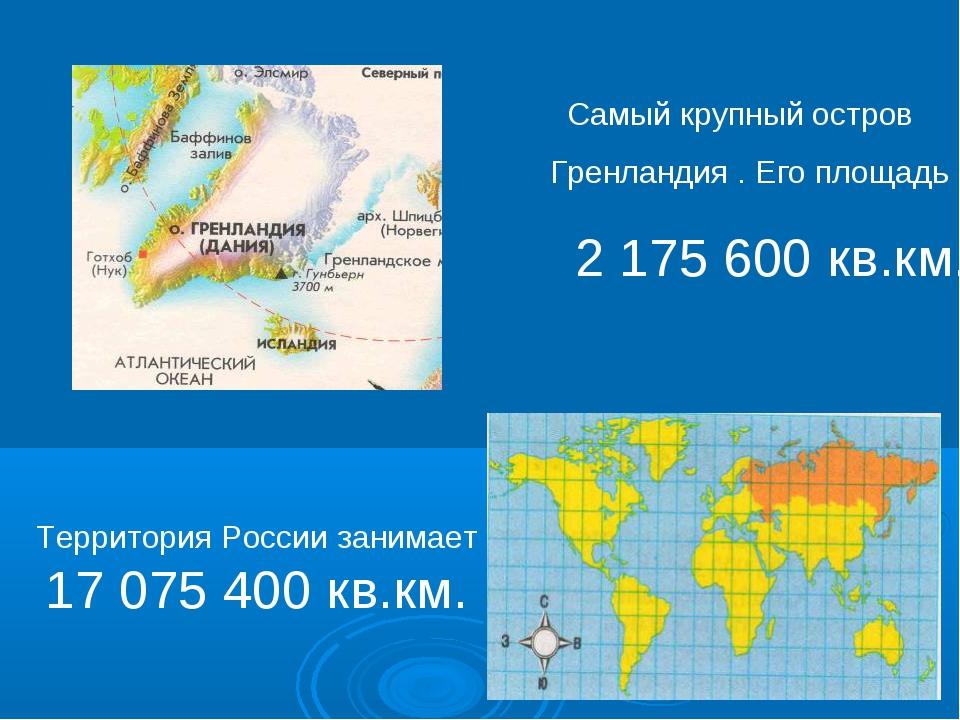 Самый крупный остров Гренландия . Его площадь 2 175 600 кв.км. Территория Рос...