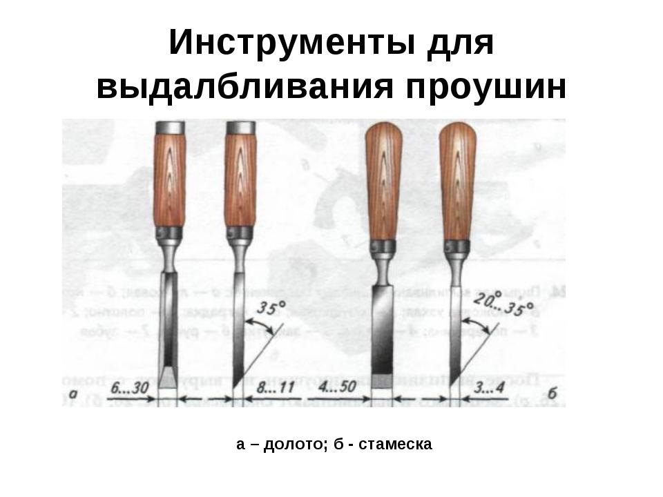 Инструменты для выдалбливания проушин а – долото; б - стамеска