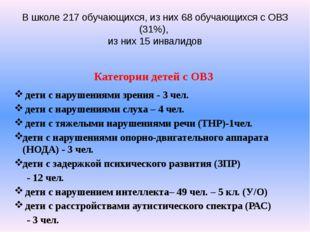 В школе 217 обучающихся, из них 68 обучающихся с ОВЗ (31%), из них 15 инвалид