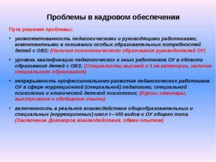 Проблемы в кадровом обеспечении Пути решения проблемы: укомплектованность пед