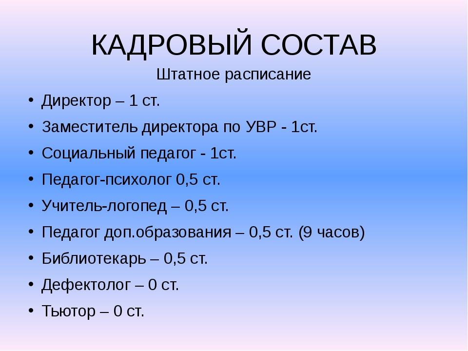 КАДРОВЫЙ СОСТАВ Штатное расписание Директор – 1 ст. Заместитель директора по...