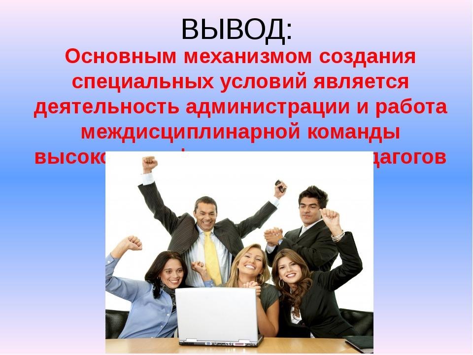 ВЫВОД: Основным механизмом создания специальных условий является деятельность...