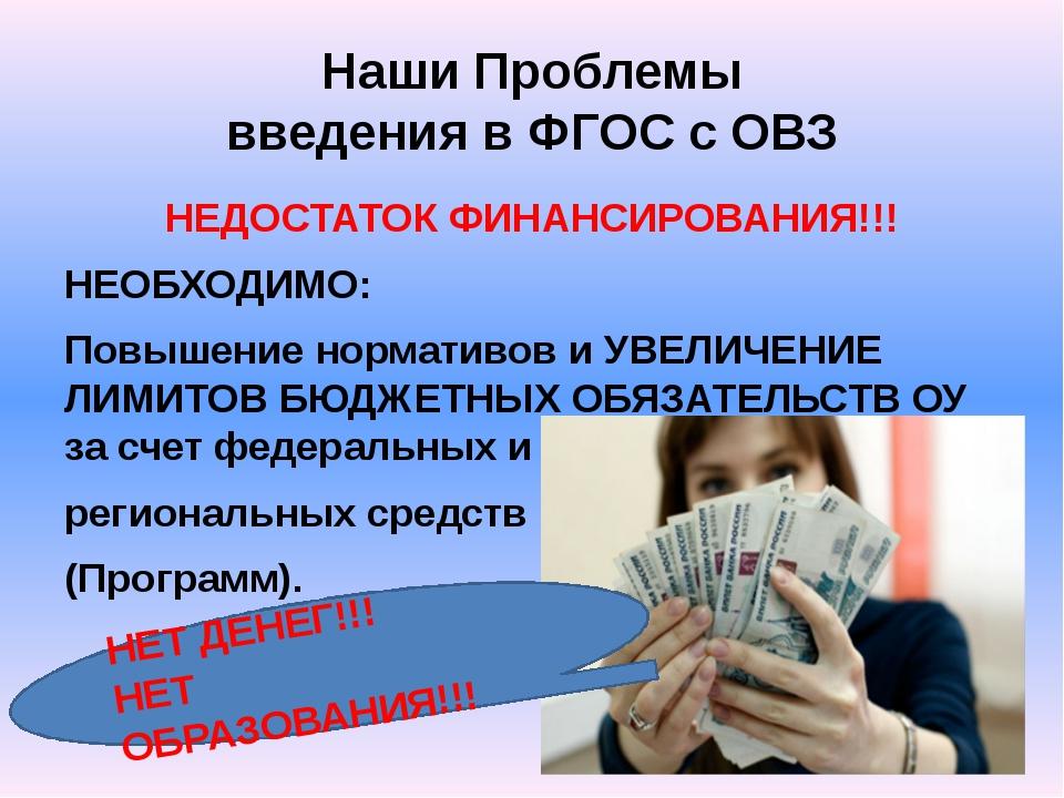 Наши Проблемы введения в ФГОС с ОВЗ НЕДОСТАТОК ФИНАНСИРОВАНИЯ!!! НЕОБХОДИМО:...