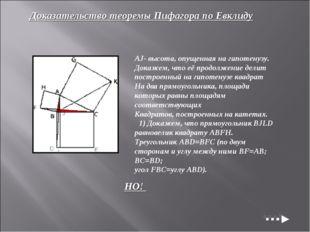 Доказательство теоремы Пифагора по Евклиду AJ- высота, опущенная на гипотенуз