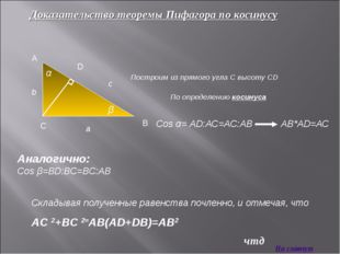 Доказательство теоремы Пифагора по косинусу Построим из прямого угла С высоту