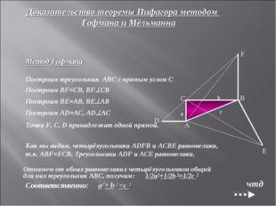 Доказательство теоремы Пифагора методом Гофмана и Мёльманна Метод Гофмана