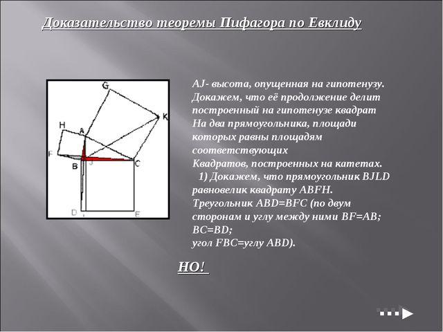 Доказательство теоремы Пифагора по Евклиду AJ- высота, опущенная на гипотенуз...