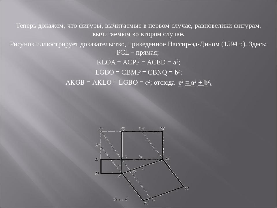 Теперь докажем, что фигуры, вычитаемые в первом случае, равновелики фигурам,...