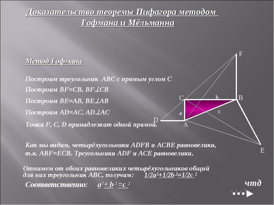 Доказательство теоремы Пифагора методом Гофмана и Мёльманна Метод Гофмана...