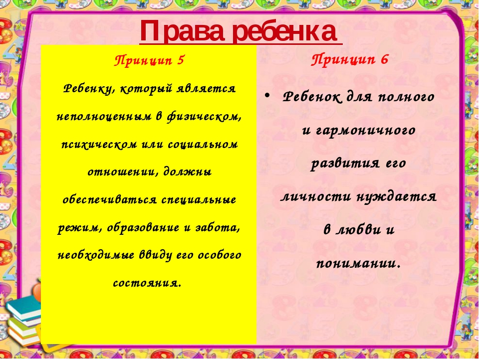 Права ребенка Принцип 6 Ребенок для полного и гармоничного развития его лично...
