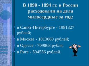 В 1890 - 1894 гг. в России расходовали на дела милосердные за год: в Санкт-Пи