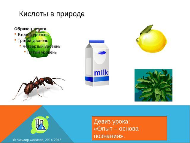 Кислоты в природе Девиз урока: «Опыт – основа познания». © Альмир Халиков, 20...