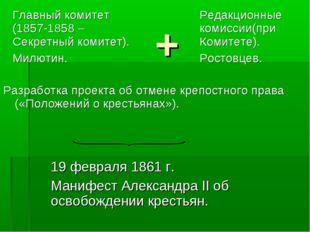 + Разработка проекта об отмене крепостного права («Положений о крестьянах»).