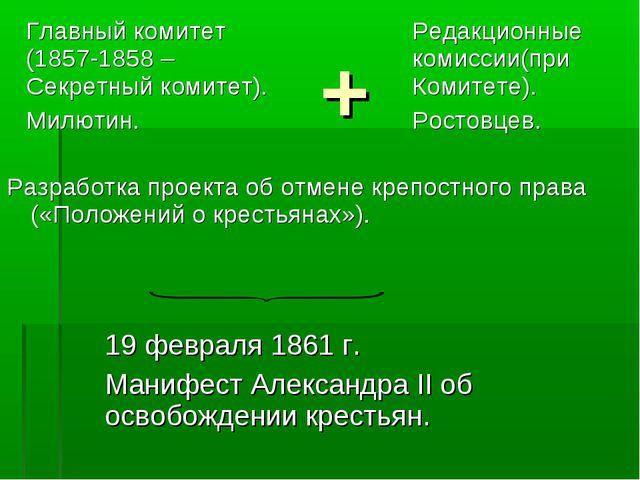 + Разработка проекта об отмене крепостного права («Положений о крестьянах»)....