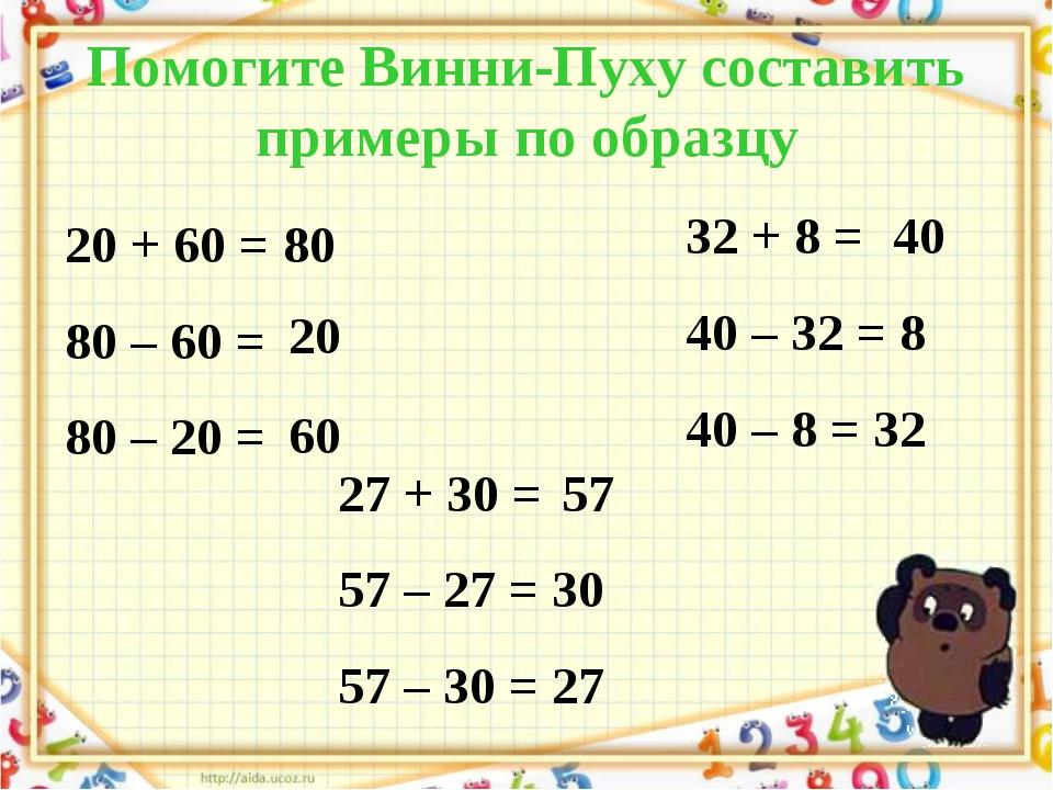 Помогите Винни-Пуху составить примеры по образцу 20 + 60 = 80 80 – 60 = 80 –...