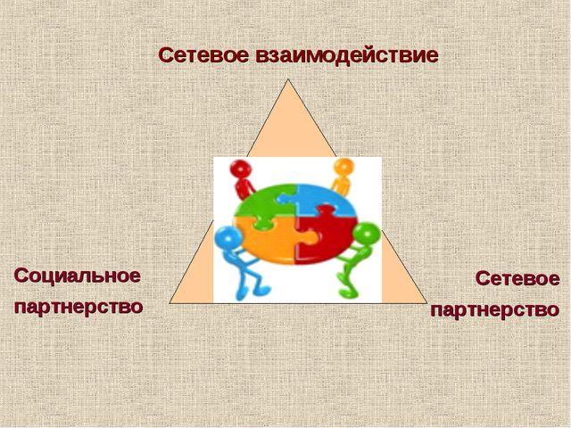 Сетевое взаимодействие Сетевое партнерство Социальное партнерство